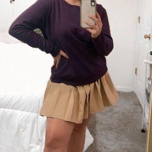 Khaki Pleated School Girl Skirt